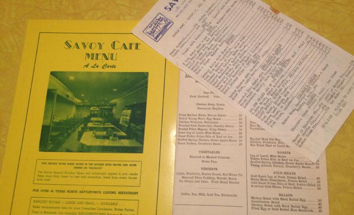 Savoy Cafe Menus